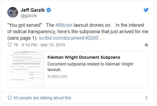 احظار جف گارزیک به دادگاه در جریان پروندهی کریگ رایت