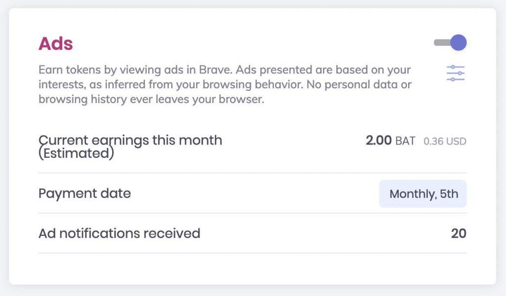 فاز دو مرورگر Brave؛ با مشاهده تبلیغات توکن بت جایزه بگیرید!
