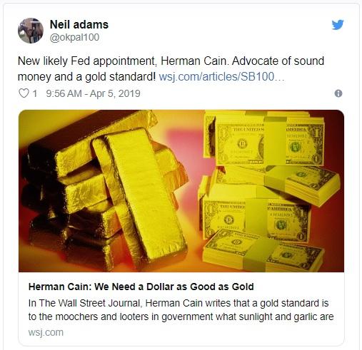 هرمن کین(Herman Cain) که سیاستمدار، نویسنده و تاجر است، توسط دونالد ترامپ(Donald Trump) برای جایگاه خالی در هیئت مدیرهی فدرال رزرو پیشنهاد میشود. وی که از بازگشت به استاندارد طلا پشتیبانی میکند، میتواند قیمت بیتکوین را به عنوان «طلای دیجیتالی» در کوتاه مدت تضعیف کند.