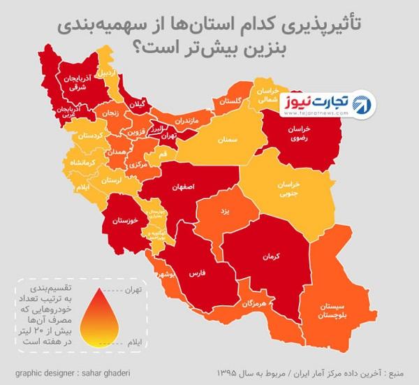 اثر سهمیهبندی بنزین بر کدام استانها بیشتر خواهد بود؟ (اینفوگرافیک)
