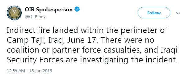 این حمله هیچ تلفاتی در میان نیروهای ائتلاف یا شرکای ما به جا نگذاشته و نیروهای امنیتی عراق در حال تحقیق درباره این رویداد هستند