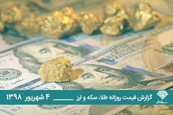 گزارش اختصاصی قیمت و تحلیل  بازار طلا و ارز امروز دوشنبه 98/06/04 | کاهش قیمت دلار در صرافی های بانکی