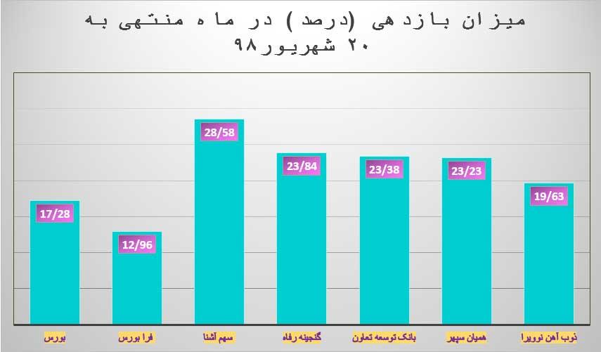 میزان بازدهی در ماه منتهی به 20 شهریور
