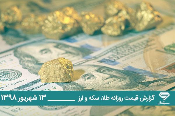 گزارش اختصاصی تحلیل و قیمت طلا، سکه و دلار امروز چهارشنبه 1398/06/13 | کاهش قیمت ها در صرافی های بانکی