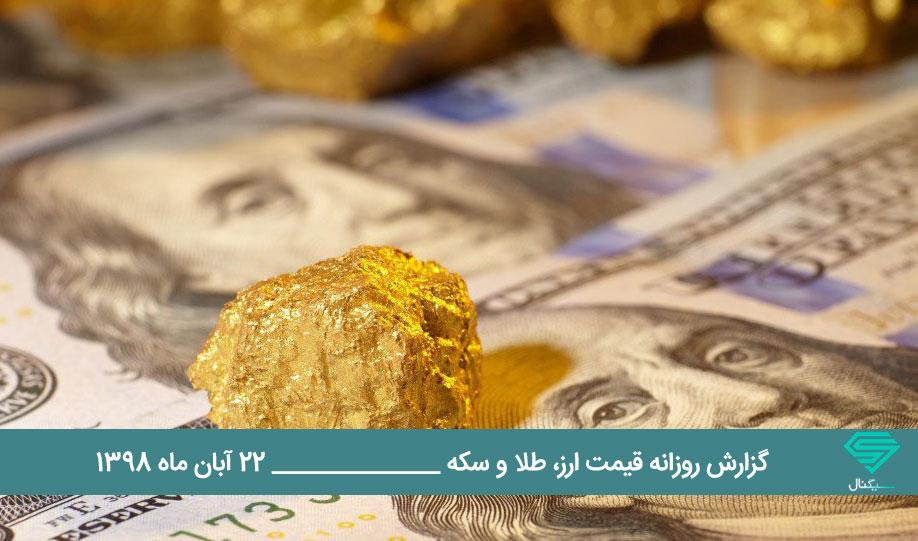 گزارش اختصاصی تحلیل قیمت بازار طلا و ارز امروز چهارشنبه 98/8/22 | رشد 130 تومانی دلار در بازار آزاد تهران از دیروز