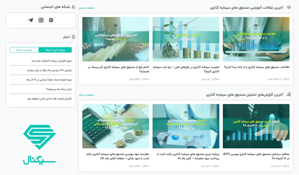 سایت سیگنال بروزترین و معتبرترین مرجع اطلاعات صندوق های سرمایه گذاری
