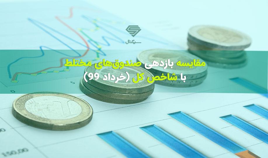 عملکرد صندوق های مختلط در مقایسه با شاخص کل در خرداد ماه 99