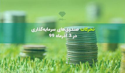 تحرکات صندوق های سرمایه گذاری در دوشنبه 3 آذر ماه 99