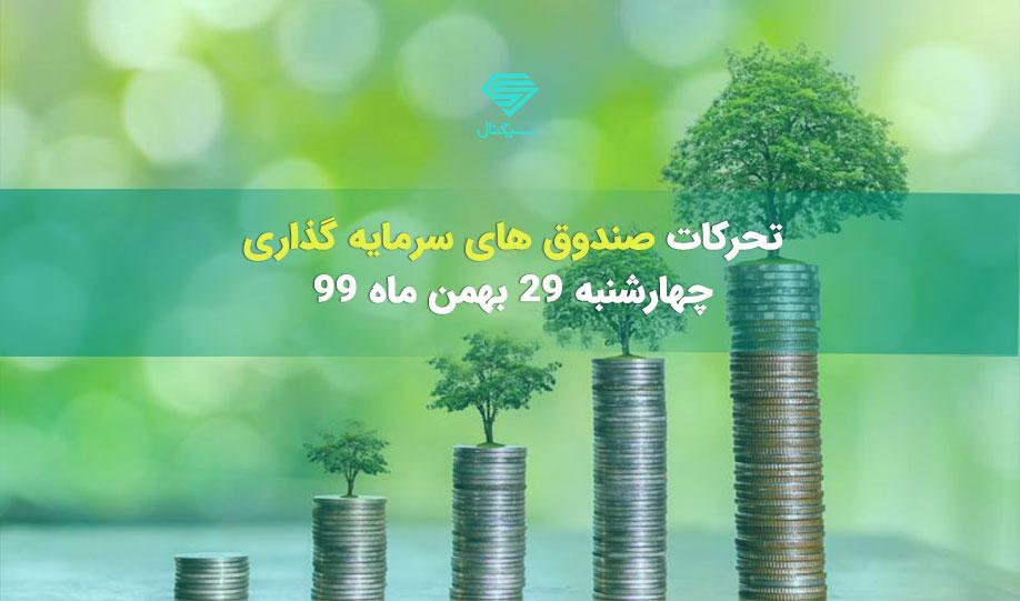تحرکات صندوق های سرمایه گذاری | چهارشنبه 29 بهمن ماه 99
