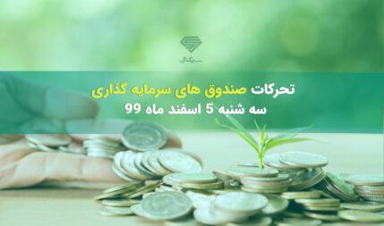 تحرکات صندوق های سرمایه گذاری در سه شنبه 5 اسفند ماه 99