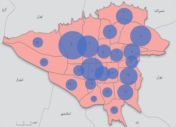 پراکندگی معاملات مسکن در مناطق مختلف شهر تهران